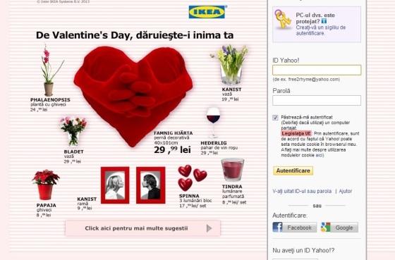 ikea se promovează prin yahoo de valentine's day