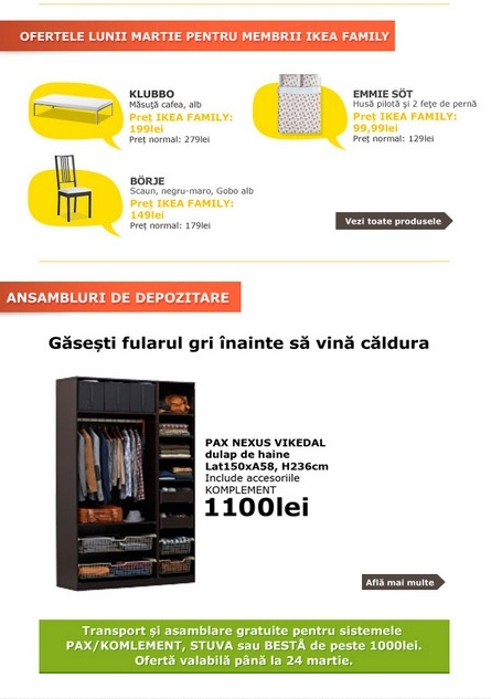 oferte IKEA martie 2013